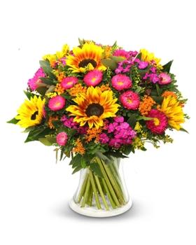 זר פרחים ורוד צהוב