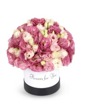 קופסת  פרחים ורודה